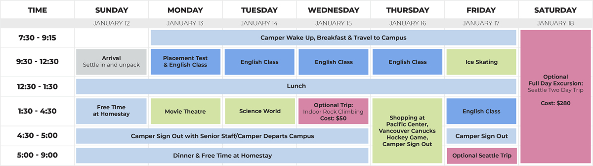 Family English + Activity Schedule