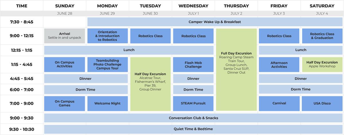 Junior Robotics Schedule
