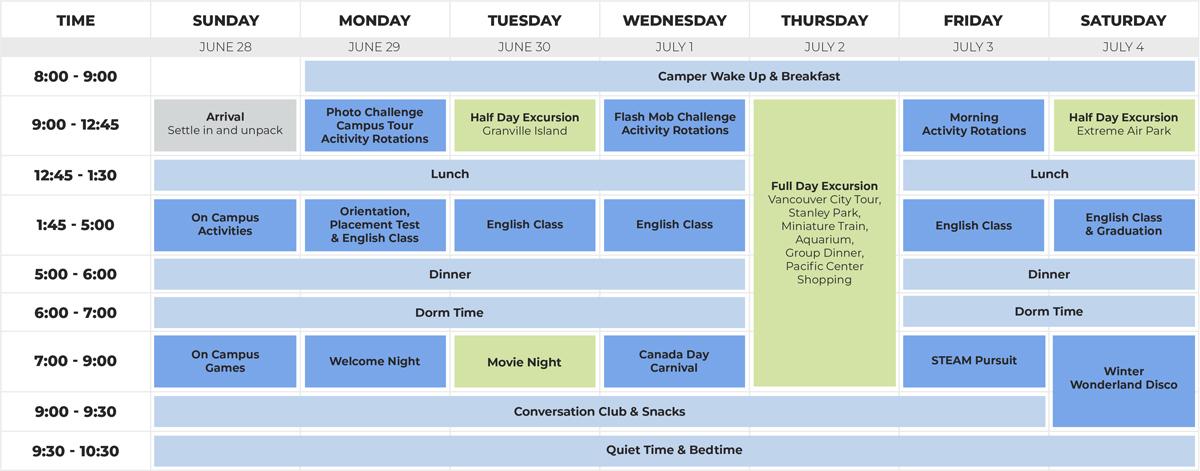 Junior Schedule - English + Activity