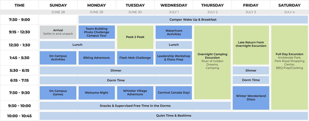 Teen Outdoor Leadership Schedule