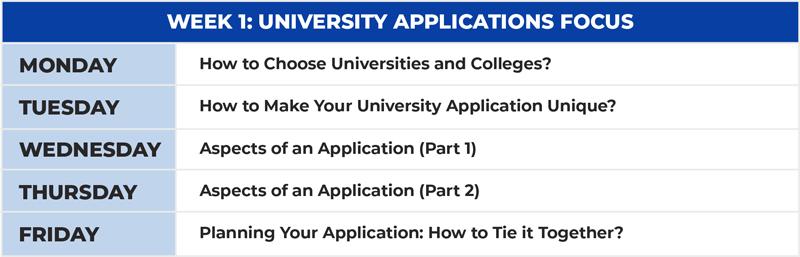 Teen University Prep Schedule Week 1