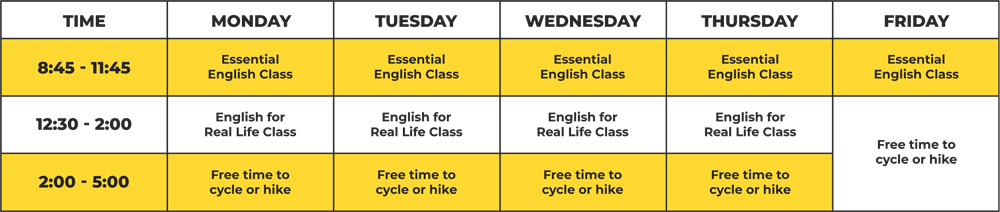 General English Summer Schedule New