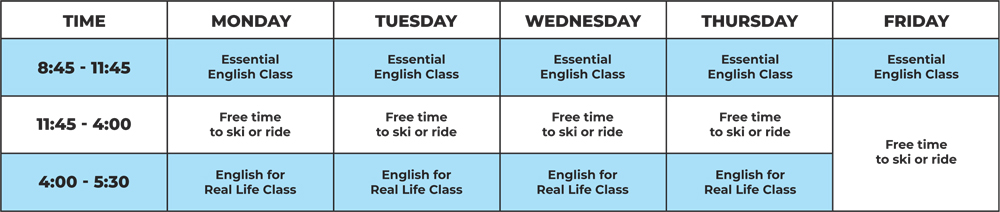 General English Winter Schedule New